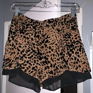 Leopard print velvet shorts